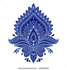 Flower template in Indian style. Ethnic floral paisley - Lotus. Mehndi style. Boho.