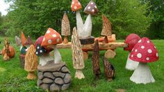 Chainsaw carved mushrooms