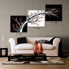 Cheap art artwork, Buy Quality art needlework directly from China art candle Suppliers: Free Shipping Abstract Art Tree Black and White Artwork Canvas Print 3 Panel Wall Art 2014 Hot Sale  &
