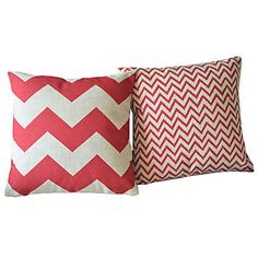 Jeu de 2 rouge moderne géométrique Coton / Lin Coussin décoratif – EUR € 20.62