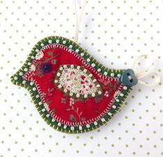 Christmas Bird Decoration, applique bird tree decoration
