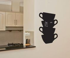 Chalkboard Wall stickers Tea Cups by Serious Onions Ltd