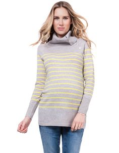 Neon Stripe Roll Neck Maternity   Nursing Sweater 602d552a1