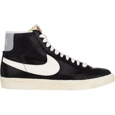 Nike Blazer Mid Vintage Sneakers ($100) ❤ liked on Polyvore featuring shoes, sneakers, nike, trainers, black, leather shoes, black leather shoes, black flat shoes, flat sneakers and nike shoes