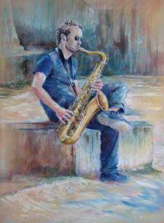 SIMIER - Scène sur Seine - Painting - Pastel sec sur velours