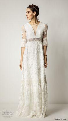 rembo styling 2017 bridal lace half sleeves v neck full embellishment bohemian vintage sheath wedding dress lace back sweep train (alberta) mv