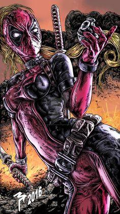 Lady Deadpool by muttleymark Lady Deadpool, Deadpool Love, Deadpool Funny, Deadpool Stuff, Deadpool Art, Comic Book Characters, Comic Character, Comic Books Art, Comic Art