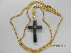 Hematite cross hand cut beautiful black by michaelmurphy756, $15.00