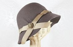 greta goes to tea cloche in taupe, vintage earring