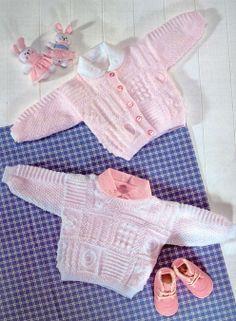 baby knit pattern sweater, cardigan booties hat sirdar 3844