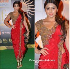 Shriya Saran in Anand Kabra Fusion Dhoti Style Saree-PakeezaAnchal.com