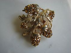 Topaz Acorns and Oak Leaves - Vintage Brooch