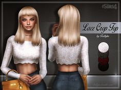 It's a long sleeve lace crop top, using my first edited EA mesh.  Found in TSR Category 'Sims 4 Female Everyday'
