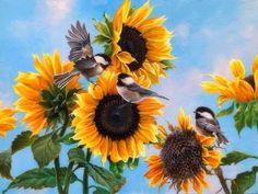Dinnertime in Summer - paintings, chickadees, garden, sunflowers, birds, animals, summer