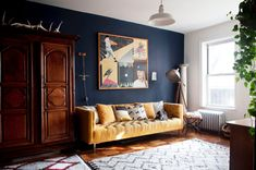 Artist and designer Amelie Mancini shares this Brooklyn rental with her husband Rami Metal and their daughter Babette.