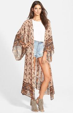 Band of Gypsies Long Floral Print Kimono available at #Nordstrom