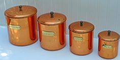Vintage Nesting Copper Canister Set - Douro Copperware - Set of 4 Canisters -  Retro Vintage Kitchen