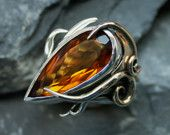 SPECIAL OFFER (was 410.00 GBP)  Peacock collection. Lab Citrine, Sterling silver and 9ct gold ring. Size N. $500.00, via Etsy.