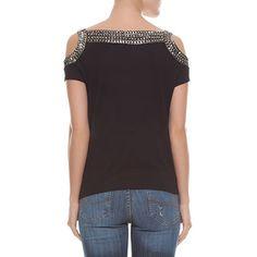 Blusa ombros vazados bordados - preta