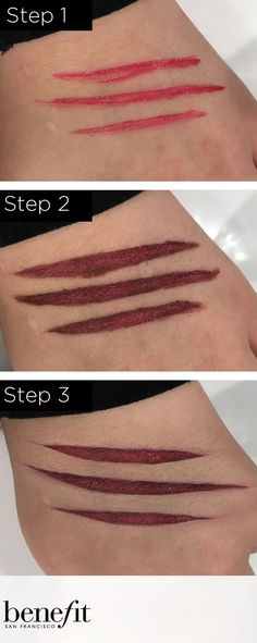 """Want to create the perfect werewolf scratches? Check out this look from the Marina Ijichi from the Bury Benefit counter """"Werewolf scratch"""" - Apply a thick coat of dare me lipstick onto the area with an angled brush. Then using the same type brush line it, just inside the shape, with the quick look busy shadow and blend it inwards. This helps give it a more raw flesh colour and gives it more depth. Finally use a concealer brush and boing concealer and sharpen and tidy up around the shap"""