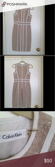 Calvin Klein tan sleeveless dress. Tan Calvin Klein sleeveless dress. Perfect for any occasion. Very comfortable yet stylish dress. Can be worn to church, work or dinner. Calvin Klein Dresses Mini