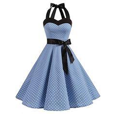 Halter Rockabilly Polka Dots Audrey Dress Retro Cocktail Dress Blue Small White Dot L Pretty Dresses, Sexy Dresses, Fashion Dresses, Summer Dresses, Halter Dresses, Summer Maxi, Evening Dresses, Casual Dresses, Holiday Dresses