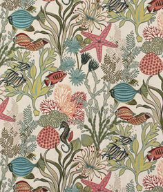 Swavelle / Mill Creek Holy Mackeral Aqua Fabric - $27.15 | onlinefabricstore.net