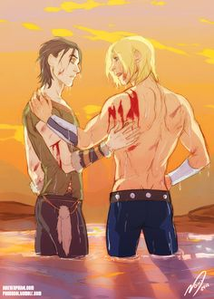 Young Thor and Loki. Wow. They got in a fight with something fierce.