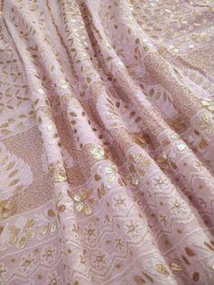 Buy Beautiful Lucknow Chikankari Anarkalis embellished with Gotapatti, Mukaish, Kamdhani and Parsi Ghara work. Lucknowi Suits, Chanderi Suits, Chikankari Suits, Anarkali Suits, Punjabi Suits, Kurta Designs Women, Blouse Designs, Designer Anarkali, Saree Look