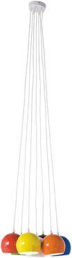 Hanglamp 7 gekleurde bollen in een 50's stijl met witte lange kabels en metalen kapjes. NIEUW!! Kare.
