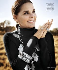 Ali McGraw Tribal Chic. Hamsa necklace by Jewels Santa Fe and Marrakech.