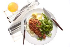 Pretzel-Crusted Chicken Cutlets with Cauliflower Purée and Arugula  recipe