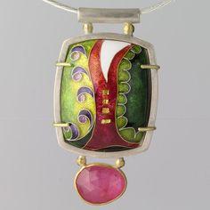 Pink Cloisonne Pendant Sterling Silver Green by WearEverJewelry