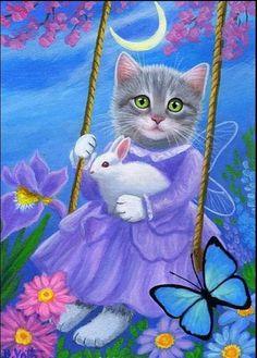 Kitten cat rabbit butterfly moon swing garden fantasy OE aceo print of painting Easter Cats, Cat Wallpaper, Jolie Photo, Vintage Cat, Cat Drawing, Beautiful Cats, Animal Drawings, Cat Art, Pet Birds