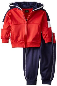 Reebok BabyBoys Infant Color Block Jogger Set Red Rush 18 Months -- Learn more by visiting the image link. Toddler Outfits, Baby Boy Outfits, Luxury Baby Clothes, Boy Clothing, Boys Hoodies, Motor, 18 Months, Reebok, Hooded Jacket