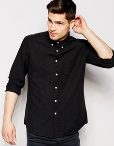 ASOS Oxford Shirt In Long Sleeve With Coloured Nep