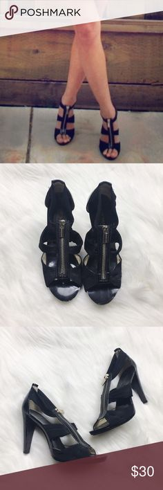 Michael Kors Berkeley Black Fabric Sandals Michael Michael Kors black fabric Heeled sandals. So comfy! Gold zipper detail up front. In good condition, worn a handful of times. No box. Size 6. No modeling/trades. MICHAEL Michael Kors Shoes Sandals