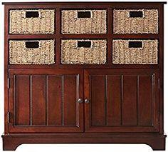 "Amazon.com: Jefferson 6 basket Cabinet, 35""Hx38""Wx12""D, BROWN: Home & Kitchen"