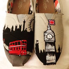 London Skyline painted TOMS from curl surf in downtown Disney
