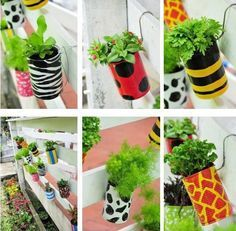 How To Make Garden Planters With Recycled Tin Cans Tin Can Crafts, Easy Crafts, Recycle Cans, Recycling, Repurpose, Diy Horta, Recycled Tin Cans, Bottle Garden, Painted Pots