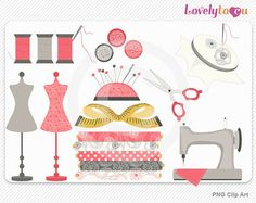 Sewing clip art set, mannequin, needle, thread, digital PNG clip art set (SR01)