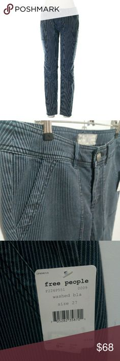 """Free People skinny jeans - brand new Free People jeans. Skinny leg cut. Vertical stripes print. Low rise waist. Medium wash. Dark Blue.  Size 27. Measurements: 28"""" Inseam, 8"""" Rise, 30"""" Waist  Materials: 69% Cotton, 30% Polyester, 1% Spandex  Brand new. Never worn. New with tags. NWT.   #pakainin #brandnew #NWT #freepeople #freepeoplenwt #freepeoplepants #freepeoplejeans Free People Jeans Skinny"""
