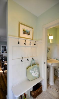 Love the color - Benjamin Moore Green Cast - SoPo Cottage: The All Important Bac. Love the color - Benjamin Moore Green Cast - SoPo Cottage: The All Benjamin Moore Green, Beadboard Wainscoting, Mudroom Laundry Room, Home Organization, Backpack Organization, Powder Room, Home Projects, Decoration, Small Spaces