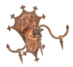historically important all original late 19th century copper-plated cast bronze spanish revival style columbus memorial building wall sconce - Products