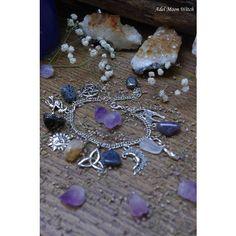 Moon stone natural stones bracelet witch bracelet Wicca charm bracelet... ($33) ❤ liked on Polyvore featuring jewelry, bracelets, stone jewelry, stone bangles, charm bracelet, natural stone jewelry and stone jewellery
