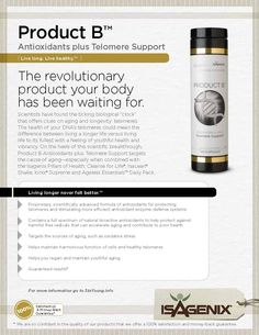 Product B positively supports telomere health by combining scientific breakthroughs in telomere support and the benefits of antioxidants in youthful aging. It helps maintain youthful function of cells and healthy telomeres so you can live a longer, healthier life.