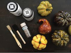 PAMELA SMERKER DESIGNS SHARES A EASY TUTORIAL TO CREATE CHALK PAINT PUMPKINS AND GOURDS TO DECORATE FOR FALL.