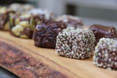 Raw cacao and hemp seed power balls...adorned with seeds and such...