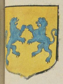 CHAPERON, Bassecourt de Saumur. Porte : d'or, à deux lions affontez d'azur | N° 186 > Saumur