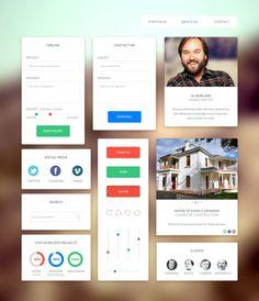UI Kit,  Chart, Free, Graphic Design, Icon, Loading, Menu, Navigation, PSD, Resource, Search Field, Simple, Slider, Social Media, UI
